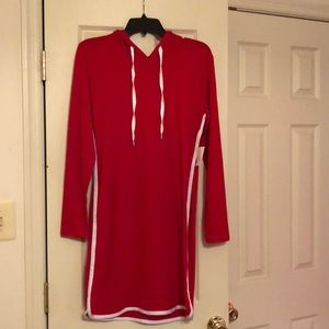 Red popover casual dress with hood